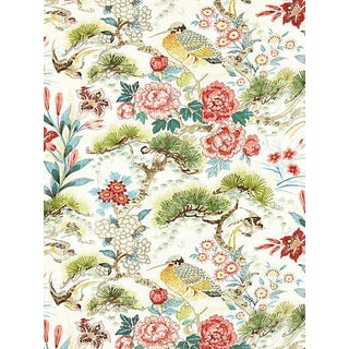 Sample, Scalamandre Shenyang Linen Print Fabric, Bloom For Sale
