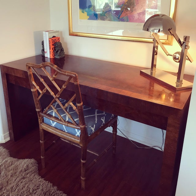 Vintage Burl Wood Parsons Writing Desk by Hekman Furniture Company For Sale - Image 11 of 12