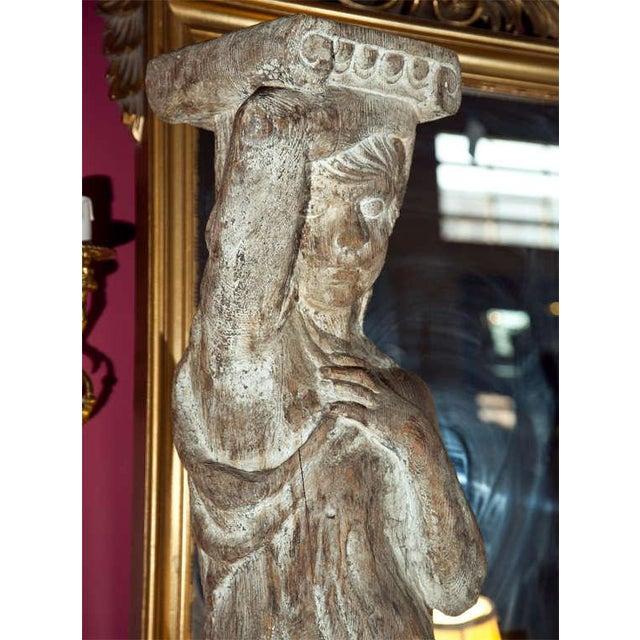 Carved Solid Wood Figure or Pedestal For Sale - Image 4 of 8