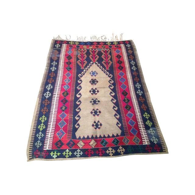 Vintage Turkish Prayer Kilim 4' X 6' - Image 1 of 8