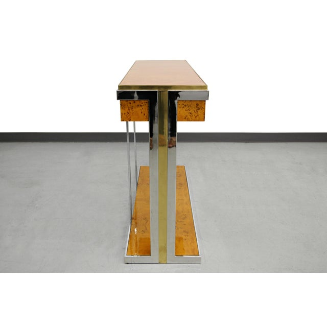 Willy Rizzo Mid-Century Italian Burl Wood Console - Image 7 of 8