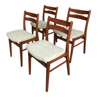 Vintage Mid Century Danish Teak Curated Dining Chairs- Set of 4 For Sale
