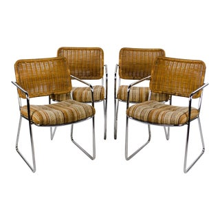 Chromcraft Mid-Century Modern Rattan and Chrome Dining Chairs- Set of 4 For Sale
