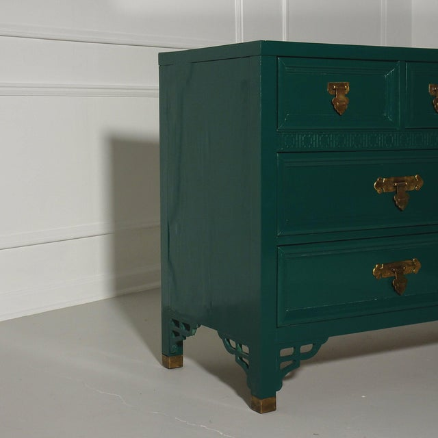 Metal Shangri La Dresser by Dixie Lacquered Ben Moore Ocean Tropic For Sale - Image 7 of 9