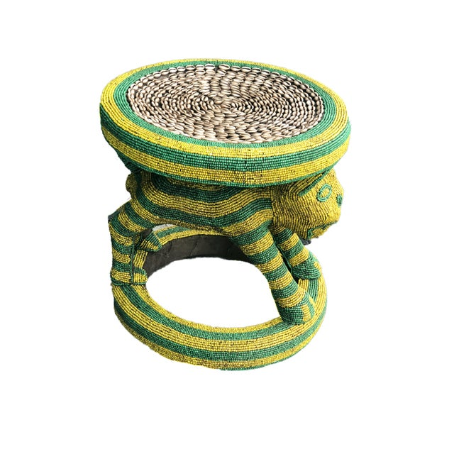 """Lg African Beaded Wood Bamileke Stool /Table Cameroon 18.5'""""h For Sale - Image 11 of 11"""