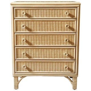 Woodard Mid-Century Wicker and Rattan Chest For Sale