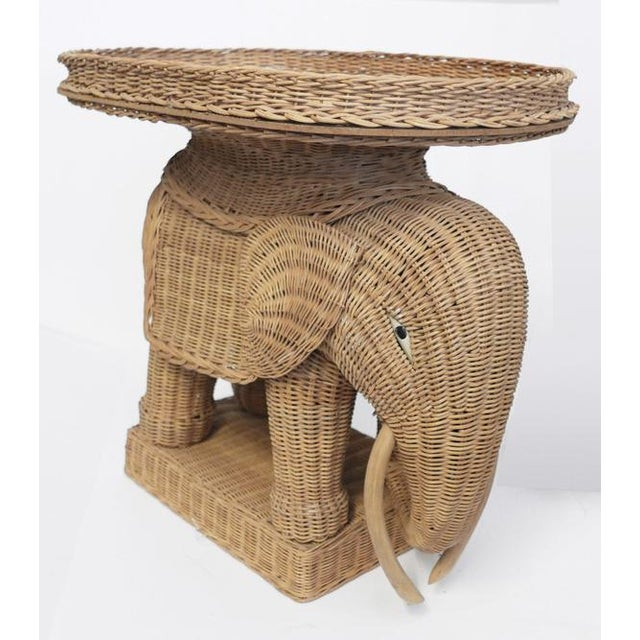 1970s Vintage Wicker Elephant Side Tray TableBoho For Sale - Image 4 of 8
