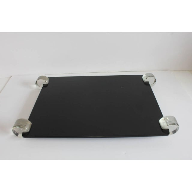 Vintage Mid-Century Black Glass and Lucite Tray For Sale In Greensboro - Image 6 of 6