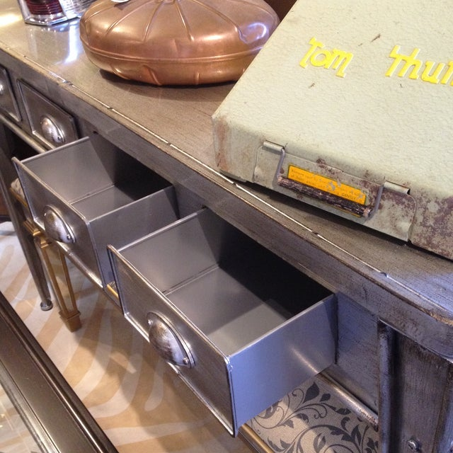 Industrial Metal Console Table For Sale - Image 9 of 9
