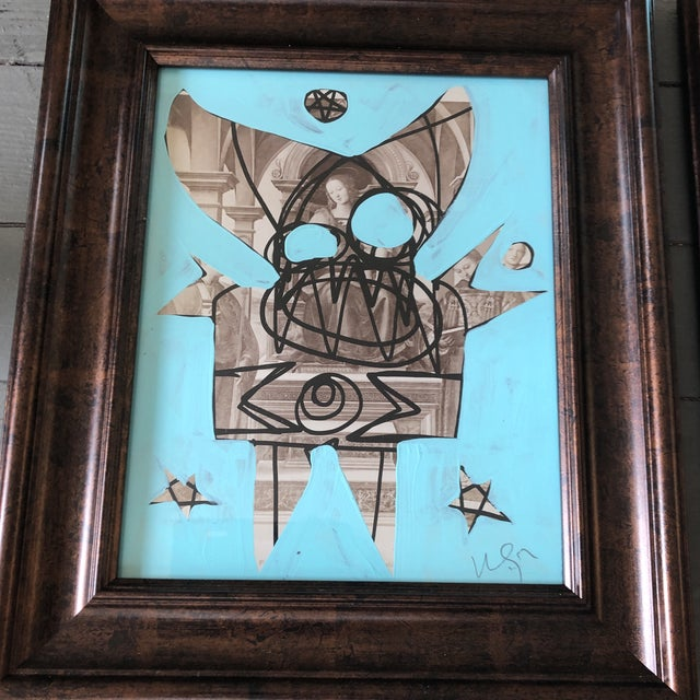 Original painting/ drawings over vintage prints framed by artist & backed with collaged paper overall size with vintage...