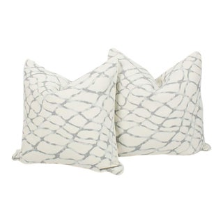 Ivory and Blue Gray Linen Lagoon Pillows, a Pair For Sale