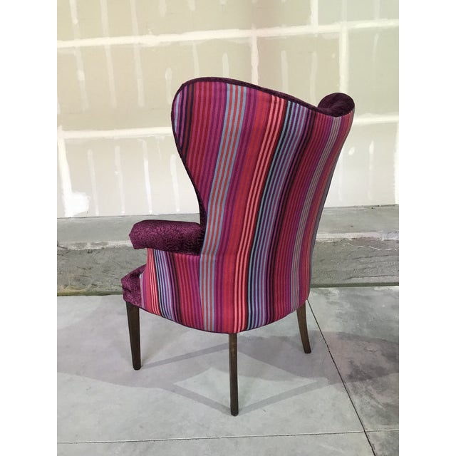 1940s Vintage Butterfly Wingback Fireside Chair Attributed to Grosfeld House Designers Guild Velvet For Sale - Image 11 of 12