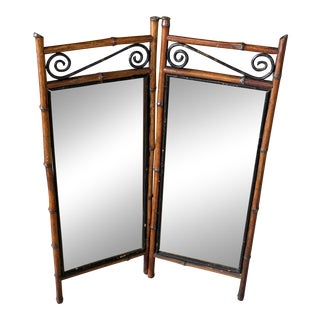 Antique French Bi-Fold Bamboo Mirror For Sale