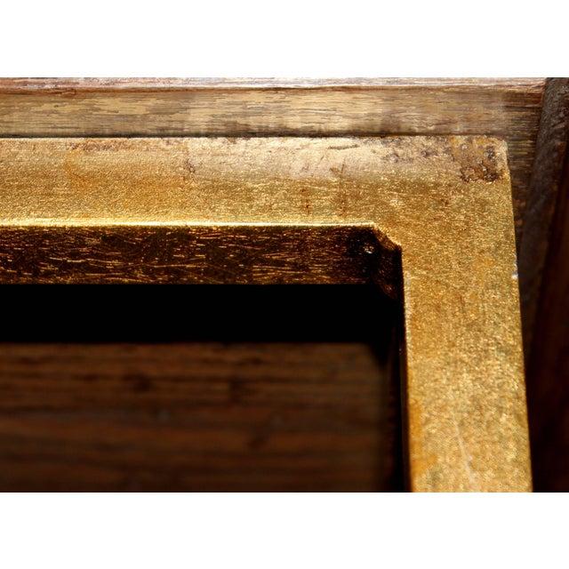 Brown Vintage Midcentury Custom Oak Gilt Steel Metal Shelf Etagere Display Case For Sale - Image 8 of 11