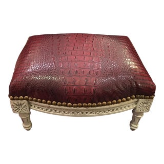 Antique Louis XVI Footstool w Red Alligator Leather