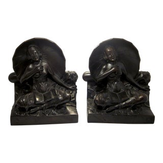 "Early 20th Century Art Nouveau/Art Deco ""Umbrella Girl"" Cast Metal Bookends - a Pair For Sale"