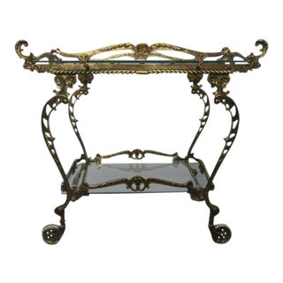 Baroque Brass Two-Tier Bar Cart For Sale