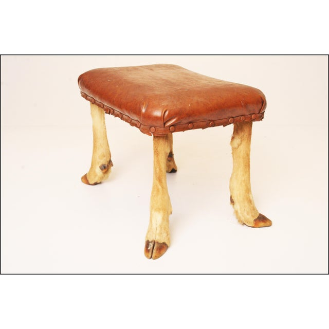 Vintage Brown Vinyl Foot Stool - Image 5 of 11
