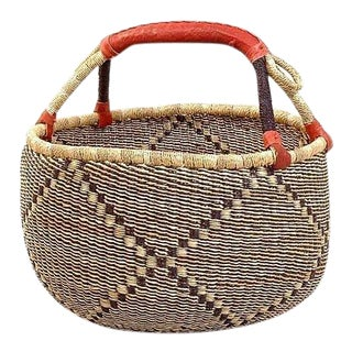 African Bolga Ghana Tan & Black Woven Basket For Sale