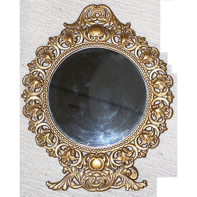 Round Gilt-Metal Vanity Mirror For Sale In West Palm - Image 6 of 6