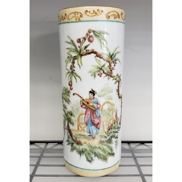 Ceramic 1880 French-American Chinoiserie Style Hand Painted Porcelain Wig Stand Signed H. deBaroncelli For Sale - Image 7 of 7
