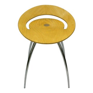 Late 20th Century Magis Lyra Beech Wood Italian Chrome Base Low Stool Seat Chair For Sale