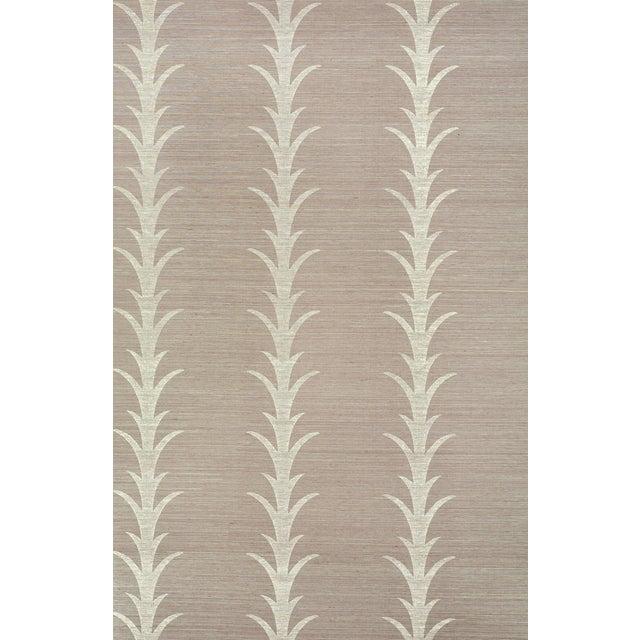 Boho Chic Sample - Schumacher X Celerie Kemble Acanthus Stripe Wallpaper in Haze For Sale - Image 3 of 3