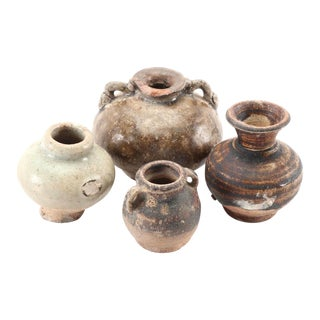 Antique Thai Sawankhalok Earthenware - Group of 4 For Sale