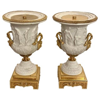 Neoclassical Sevres Parian and Doré Bronze Mounted Urns or Vases 1920s a Pair For Sale