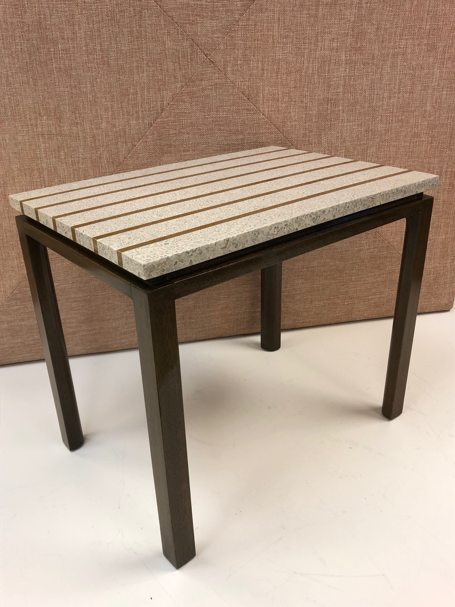 Terrazzo Top Table By Harvey Probber. Table Top Has Brass Inlay And The  Frame Is