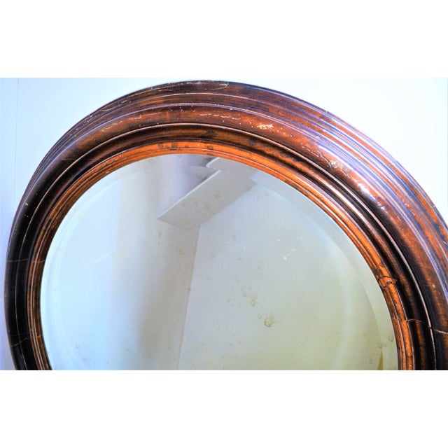 Baker Furniture Round Distressed Solid Maple Mirror For Sale - Image 10 of 11