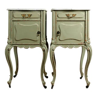 Late 19th Century Rococo Olive Nightstands - a Pair For Sale