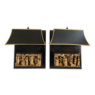 Antique Chinoiserie Wall Lights - a Pair For Sale