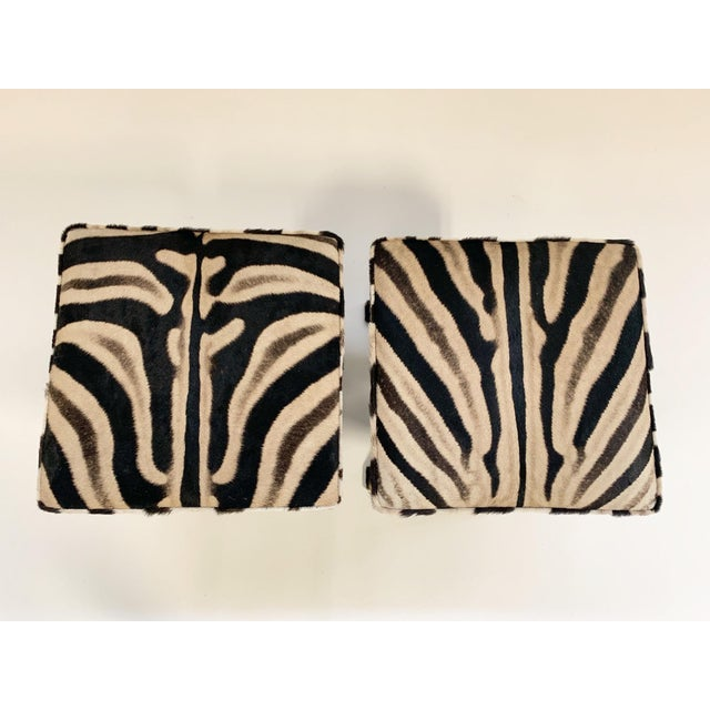 Billy Baldwin Billy Baldwin Style X Benches Restored in Zebra Hide - a Pair For Sale - Image 4 of 10