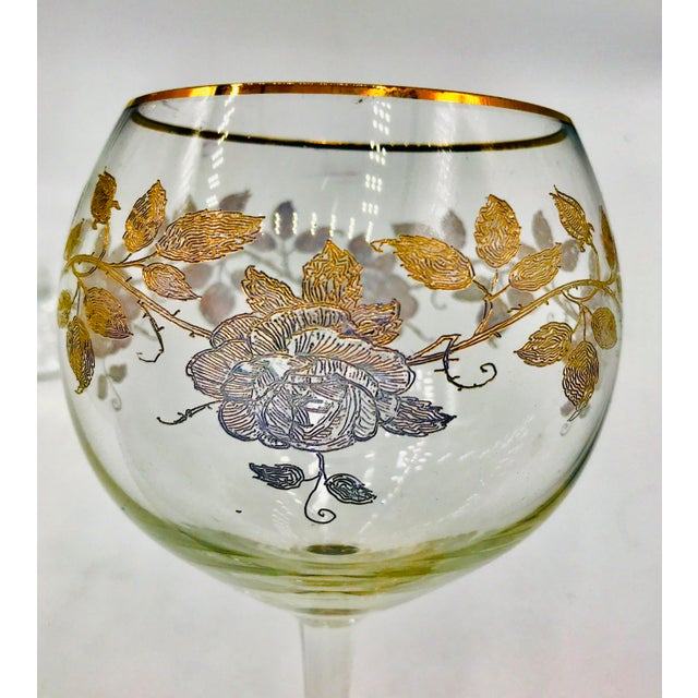 Early 20th Century Antique French Baccarat Gold Encrusted Needle Etch Crystal Hock Glasses- Set of 6 For Sale - Image 11 of 13