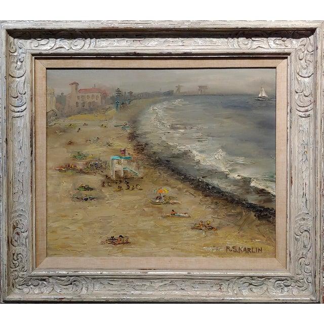 R. S. Karlin - Santa Monica Beach - 1960s Mid Century Oil painting mid century expressionist oil painting on canvas...