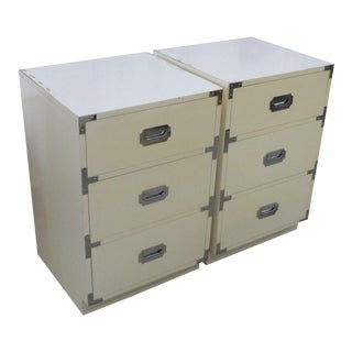 Campaign Style Narrow Chests - a Pair For Sale