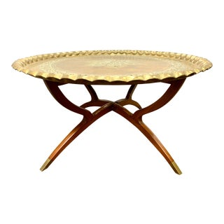 Moroccan Brass Tray on Folding Mahogany Table For Sale