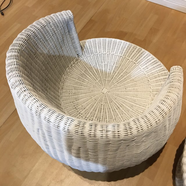 1960s Rattan Swivel Tulip Chairs - A Pair For Sale - Image 6 of 7