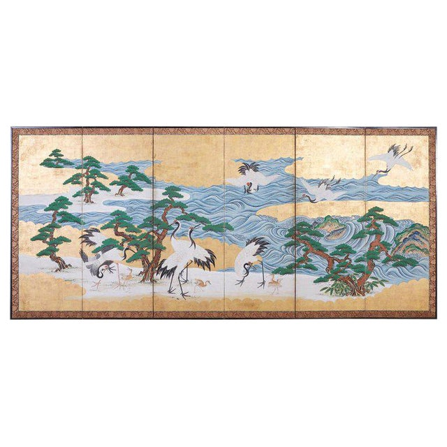Japanese Six Panel Screen of Cranes by the Sea For Sale