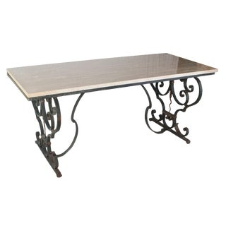 Cast Iron Table With a Granite Top For Sale