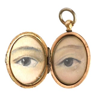 Contemporary Lovers' Eyes Paintings by S. Carson in an Antique French Locket For Sale