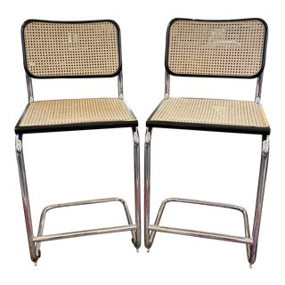 Steel + Cane Barstools - a Pair For Sale