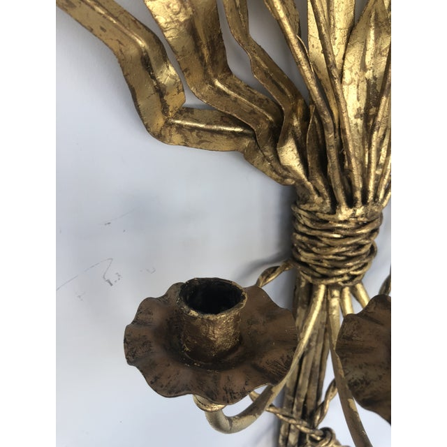1940s Gold Gilt Iron Candelabra With Cat Tail Motif For Sale - Image 5 of 13