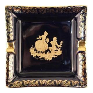 Limoges Castel Ashtray in 22k Gold With Pastoral Scene For Sale