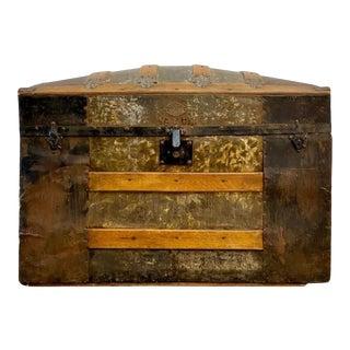 1800's Antique f.j. Pelica Dome Top Steamer Trunk For Sale