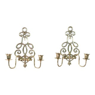 Mid Century Hollywood Regency Gold Wall Sconces - a Pair For Sale