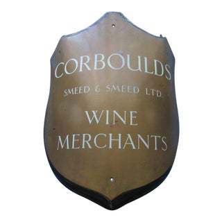 19th. Century Antique Curved Bronze Stone Enamel Wine Merchant Sign For Sale