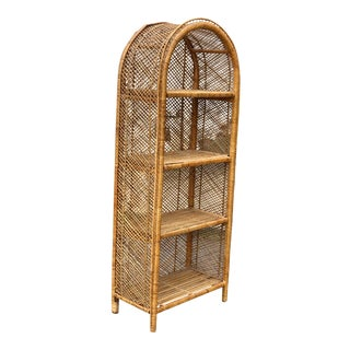 Vintage Boho Chic Rattan Bamboo Woven Arched Plant Stand Bookshelf For Sale
