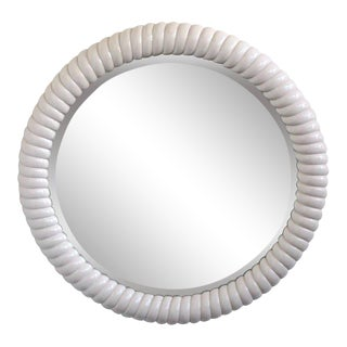 Large Lacquered Round Mirror For Sale
